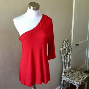 Boston Proper Red One Shoulder Top Small